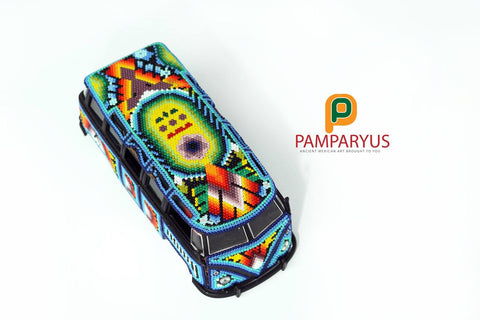 1960 VW Samba Beaded Huichol Arte Huichol - Pamparyus