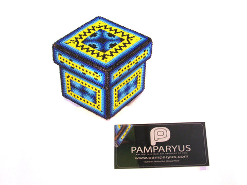 Caja Huichol Beaded Wood Recipient Huichol - Pamparyus