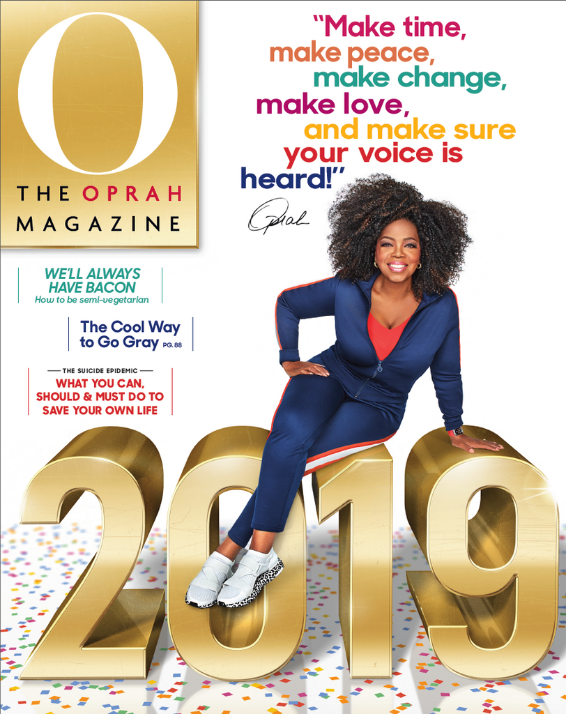 The Oprah Magazine - Cover Featuring Oprah wearing our Lassell Earrings and Ring
