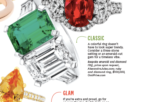 "Beautiful feature in ""The Knot"" with our Bespoke Emerald and Diamond Ring"