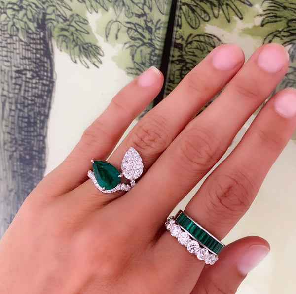 Alexandra Jules Bespoke Emerald and Diamond pear shape ring