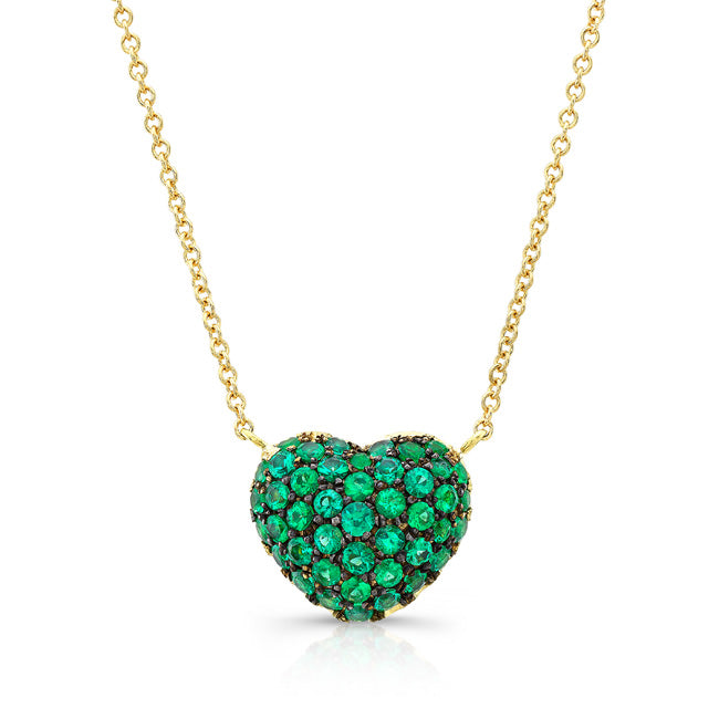 Emerald Full Heart Necklace -Yellow Gold