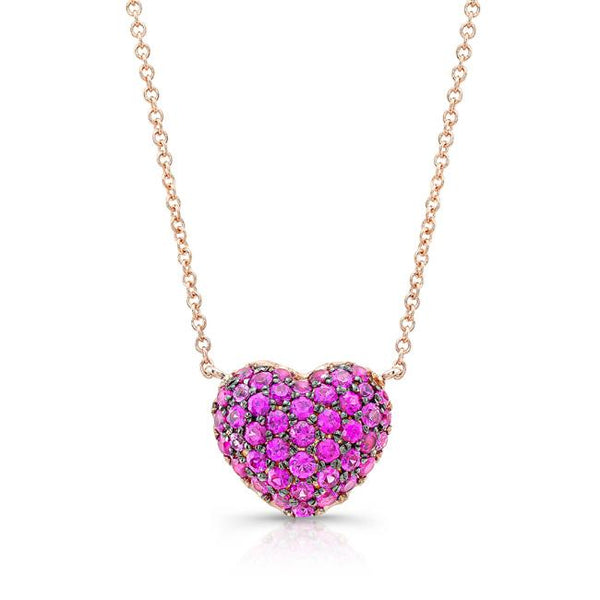 Pink Sapphire Full Heart Necklace