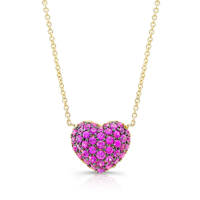 Pink Sapphire Full Heart Necklace - Yellow Gold