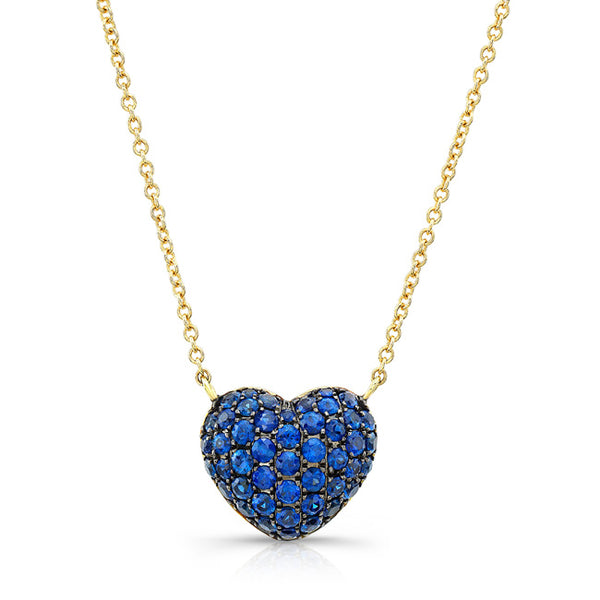 Blue Sapphire Full Heart Necklace - Yellow Gold
