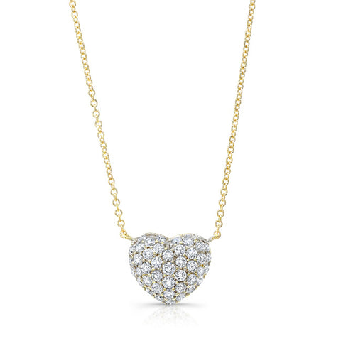 Diamond Full Heart Necklace -Yellow Gold