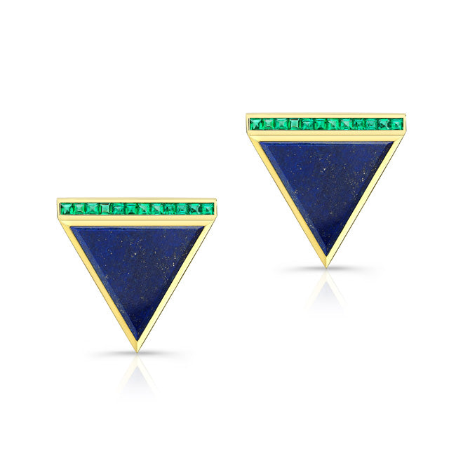 Lapis and Emerald Earrings