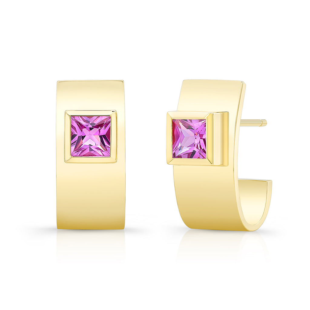 Pink Sapphire Forever Earrings - Yellow Gold