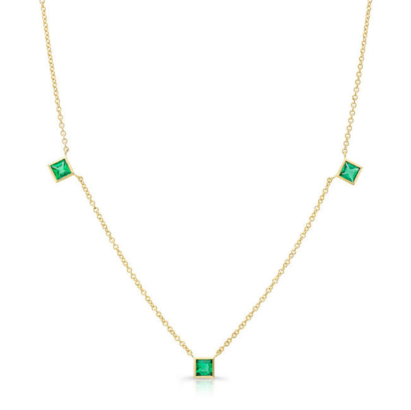 Square Emerald by the Yard Necklace