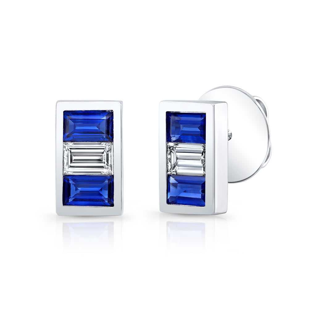 Triple Stone Sapphire and Diamond Earring