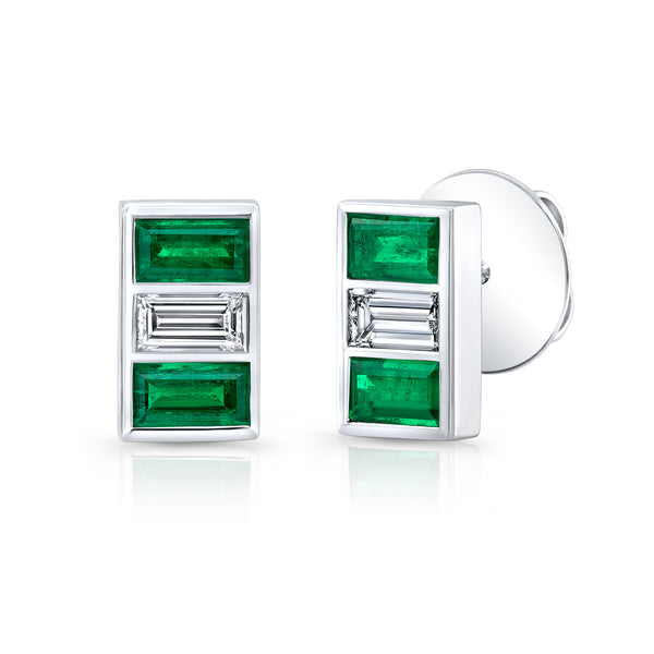 Triple Stone Emerald and Diamond Earring