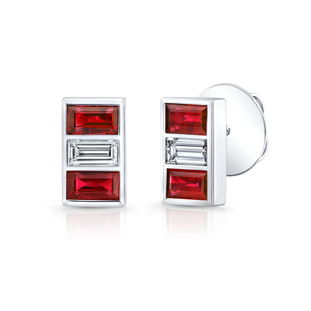 Triple Stone Ruby and Diamond Earring