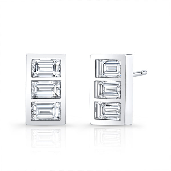Triple Stone Diamond Earring