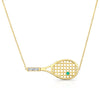 Tennis Racket Necklace with Emerald