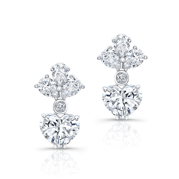 Teardrop Heart Diamond Earrings