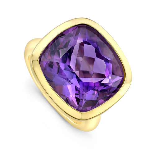 Amethyst Cocktail Ring- yellow gold