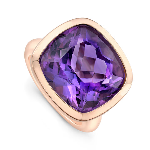 Amethyst Cocktail Ring- pink gold
