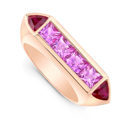Deco Ring- Ruby & Pink Sapphire