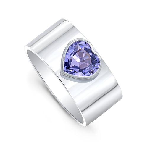 Purple Sapphire Heart Forever Ring