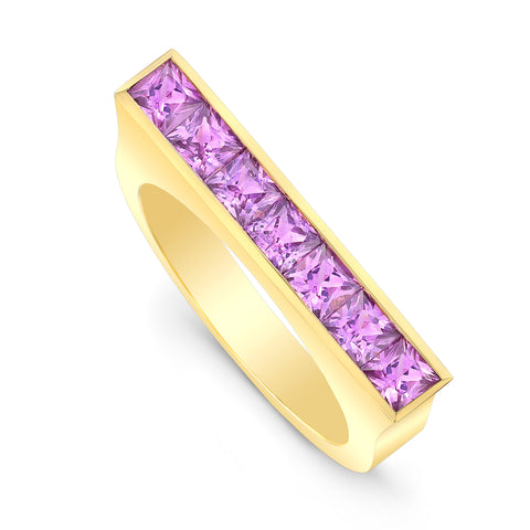 Square Pink Sapphire Skinni Ring