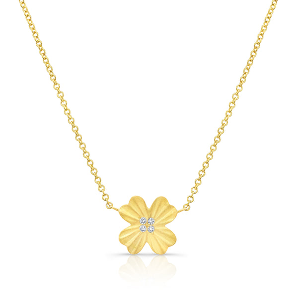Single Diamond Clover Necklace