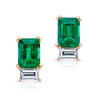 Emerald and Diamond Baguette Studs