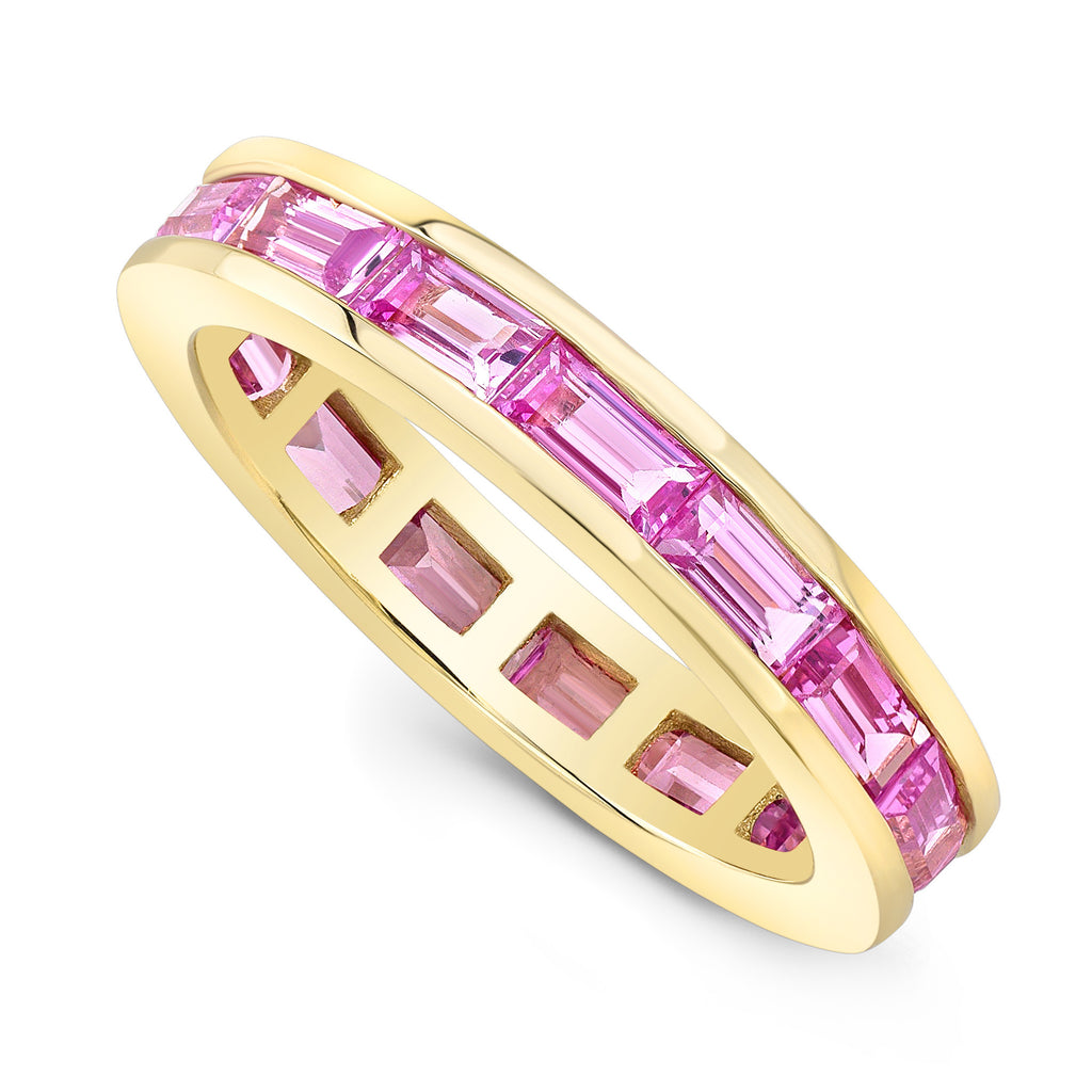 Pink Sapphire Baguette Channel Set Ring