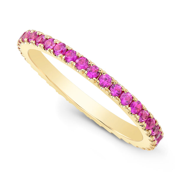 Pink Sapphire Pave Eternity Ring