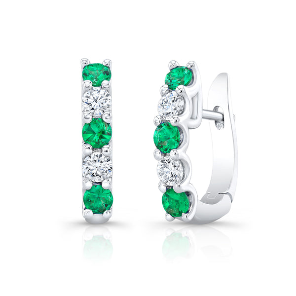 Half-Hoop Huggie - Emerald & Diamond