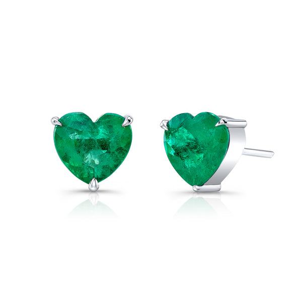 Emerald Heart Stud Earrings