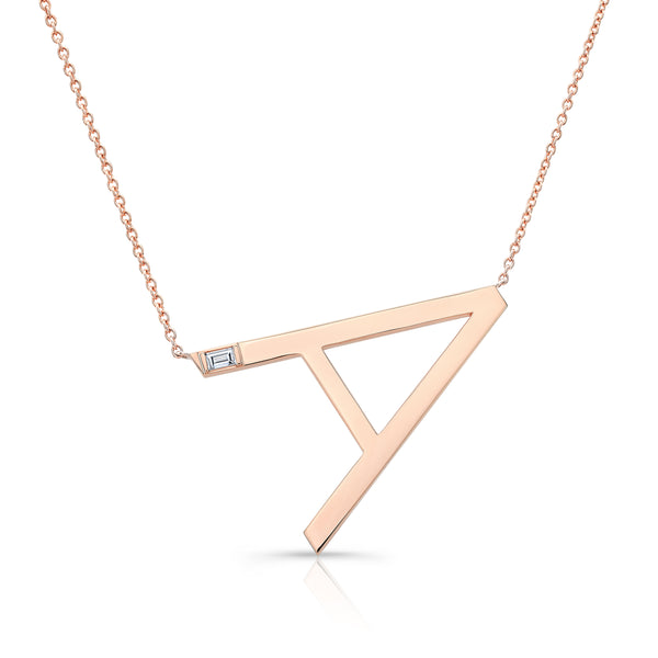 Initial Necklace with Baguette Diamond