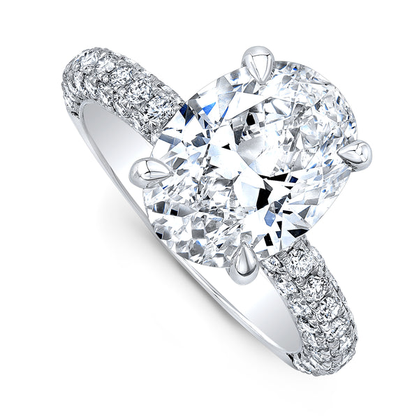 Custom Platinum Oval Diamond Ring
