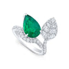 Alexandra Jules Bespoke Pear shaped emerald and diamond ring
