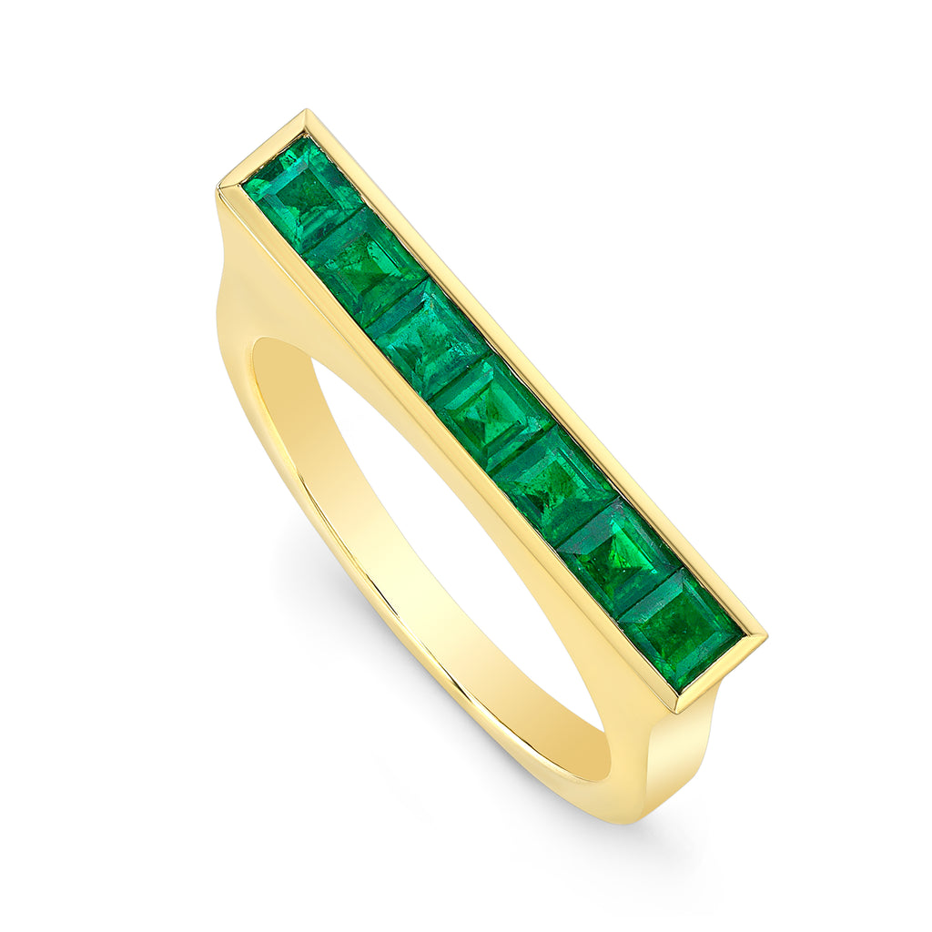 Square Emerald Skinni Ring