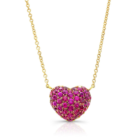 Ruby Full Heart Necklace-yellow gold