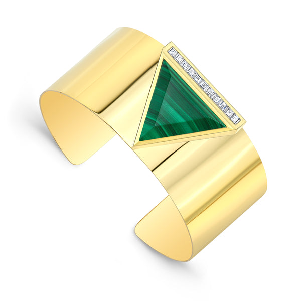 Malachite and Diamond Cuff