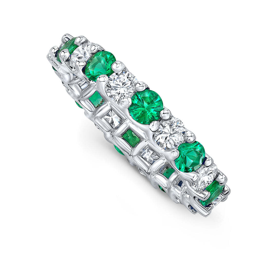 Diamond and Emerald Eternity Band