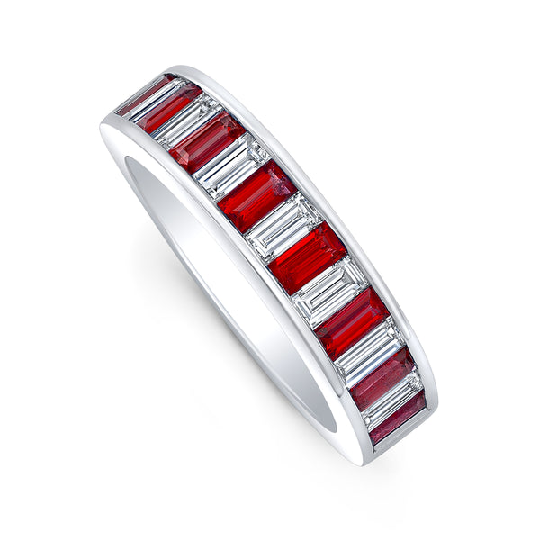 Diamond and Ruby Baguette Band