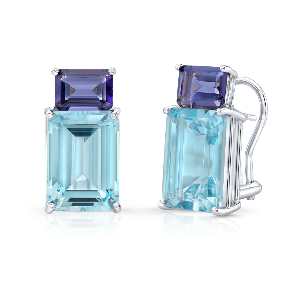 Blue Topaz and Iolite Candy Earrings