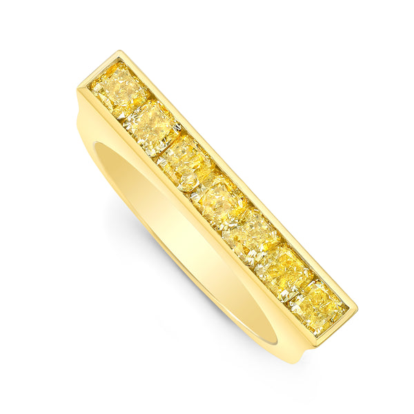Square Yellow Diamond Skinni Ring