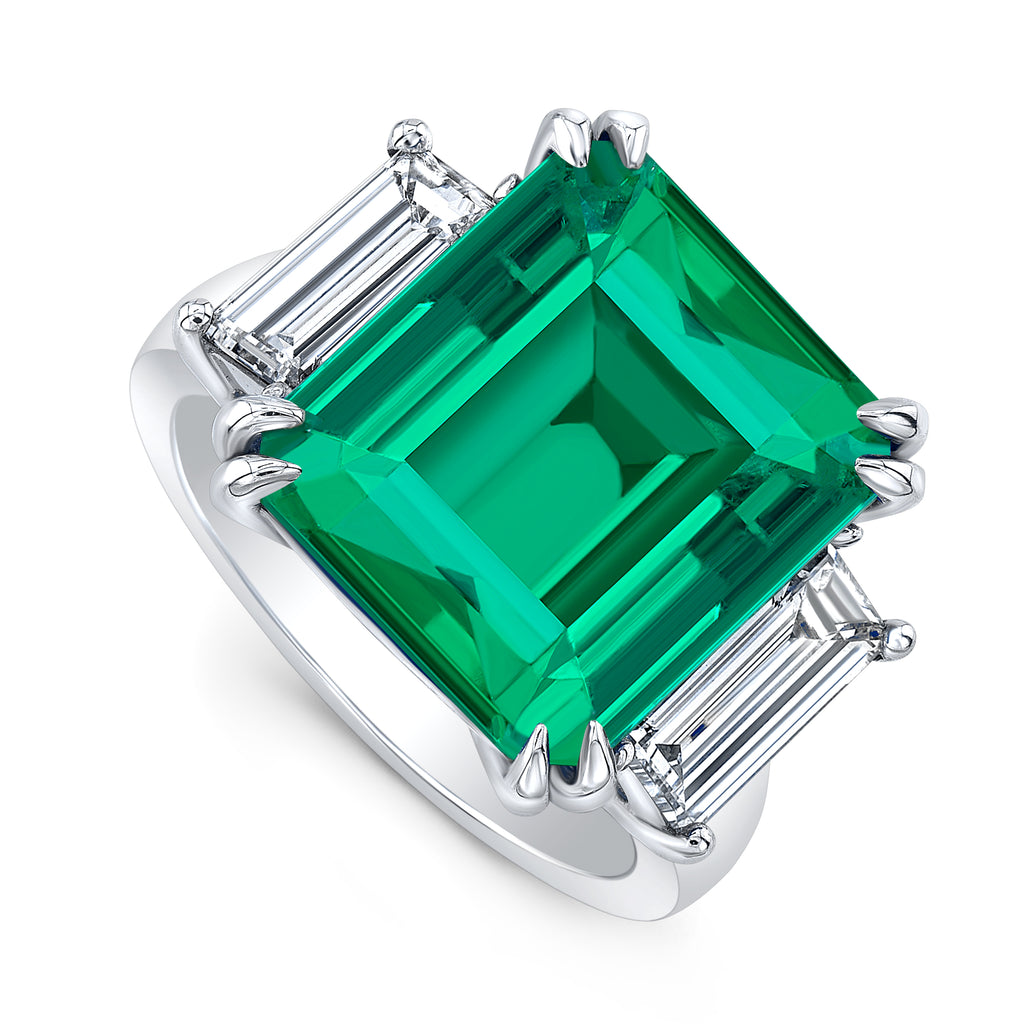 Custom Emerald and Diamond Ring