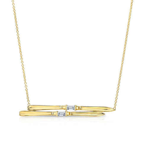 Ski Necklace- Yellow Gold