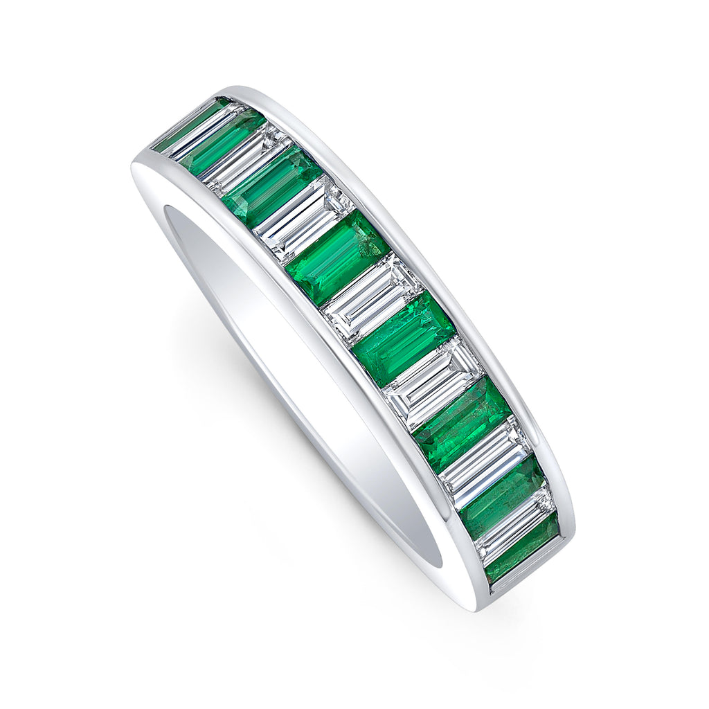 Diamond and Emerald Baguette Band