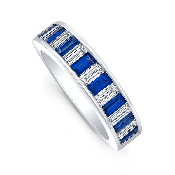 Diamond and Sapphire Baguette Band