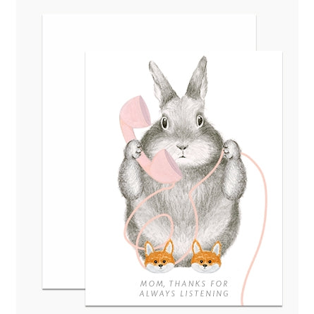 Bunny in Slippers Mom Day Card
