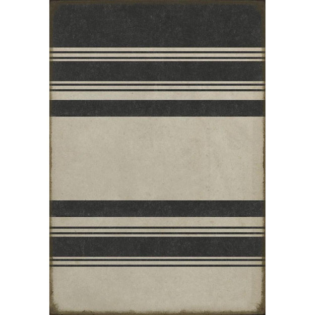 Organic Stripes Black & White Vinyl Rug - Pattern 50