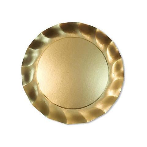 Satin Gold Wavy Dinner Plate