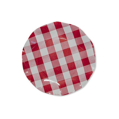 Red Gingham Wavy Paper Salad Plate