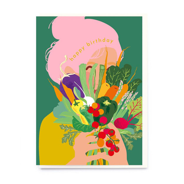 Vegetable Bouquet Happy Birthday Card