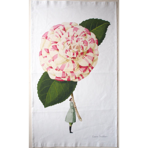 In Bloom Camellia Linen Tea Towel